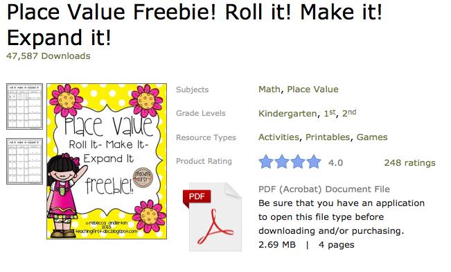 http://www.teacherspayteachers.com/Product/Place-Value-Freebie-Roll-it-Make-it-Expand-it-624142