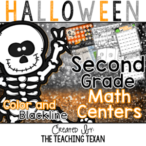 Halloween Math Centers Games 8x8 Second Grade