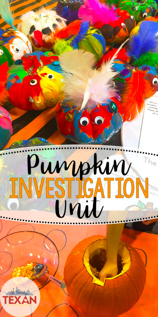 Looking for a hands-on activity for your pumpkin unit?  I love that this investigation incorporates STEM, Math, Science, and so much more!  What a perfect idea for Kindergarten, First Grade, and more!