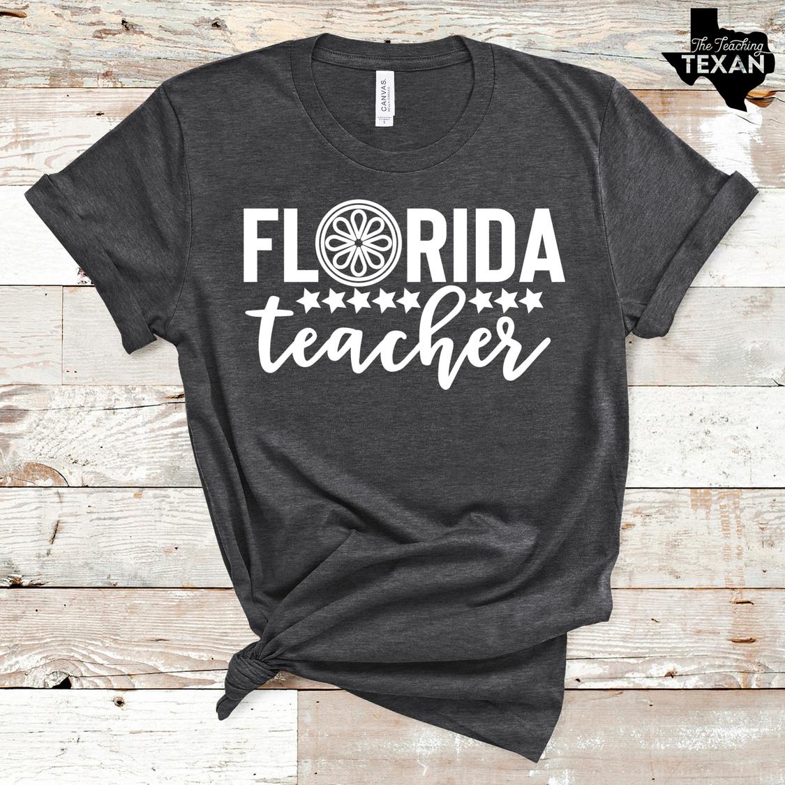 Florida Teacher Shirt The Teaching Texan Heather Gray
