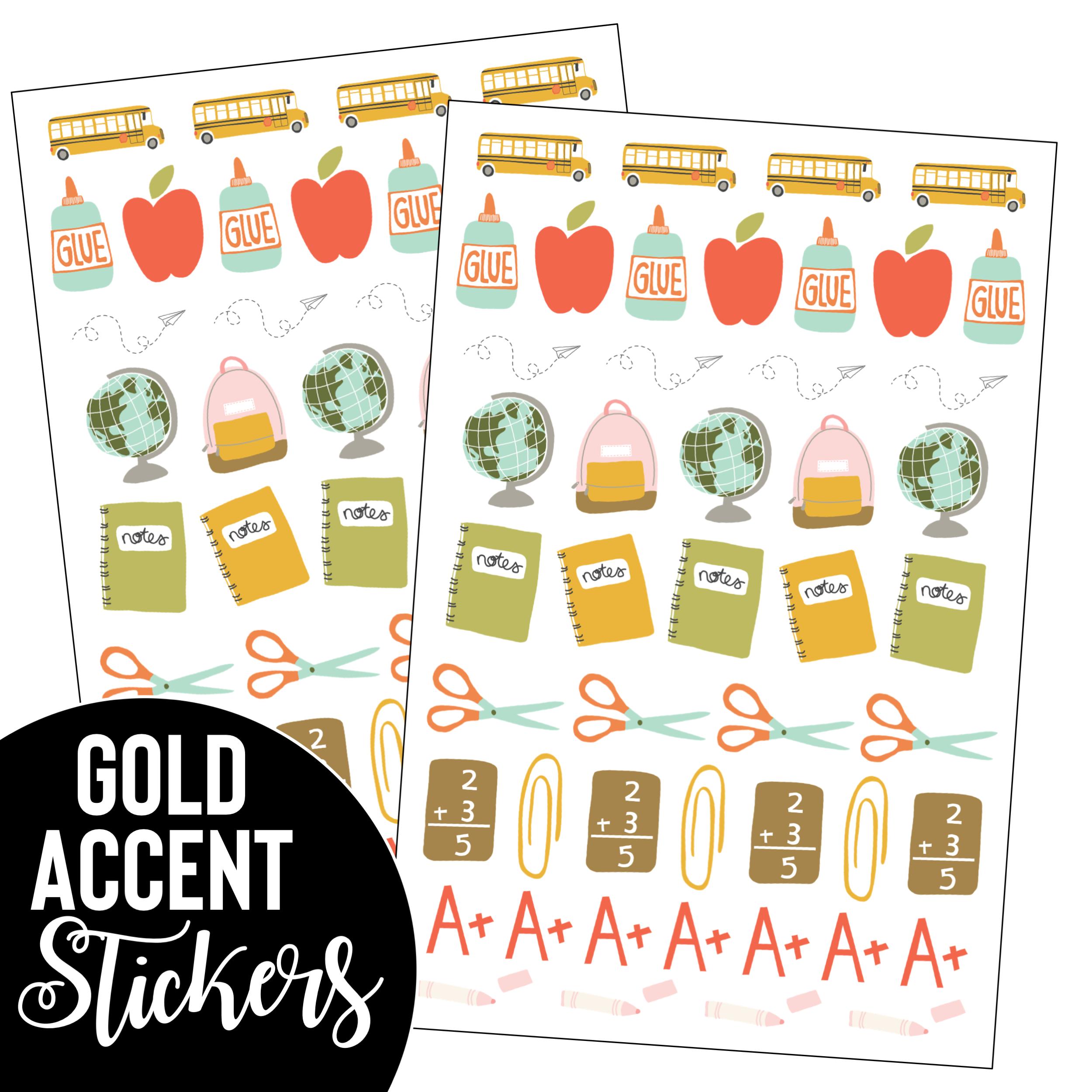 Gold Accent Teacher Planner Stickers