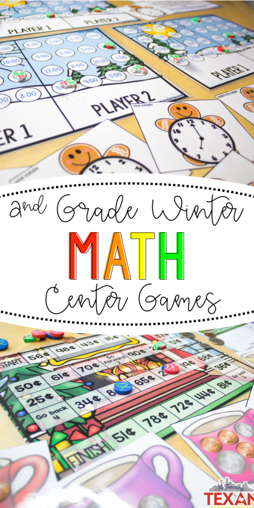 Math games for Second Grade don't have to be a challenge!  I love that this set of winter centers comes with everything needed to engage students while helping them master foundational math skills!  These games truly cover so much - from arrays, function machines, making change, telling time, and measuring!