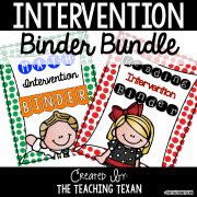 Kindergarten Reading and Math Intervention Binders