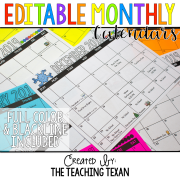 Monthly Class Calendars 8x8