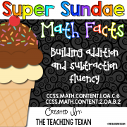 Super Sundae Math Facts Fluency First Grade